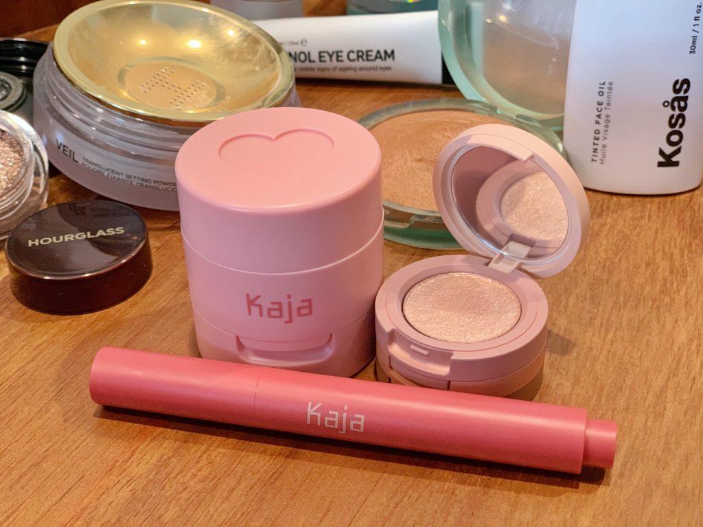 Kaja Cheeky Stamp Blendable Blush, Kaja Beauty Bento Bouncy Shimmer Eyeshadow Trio and Kaja Heart Melter Lip Gloss Stick