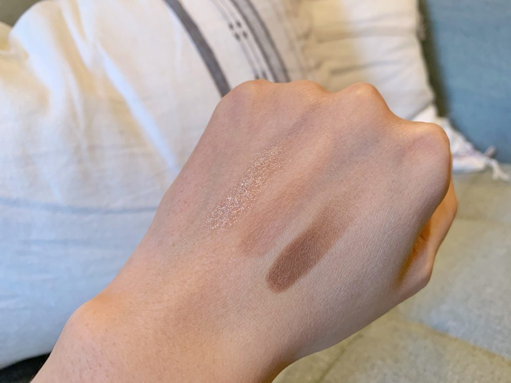 Swatches of Kaja Beauty Bento Bouncy Shimmer Eyeshadow Trio in Chocolate Dahlia