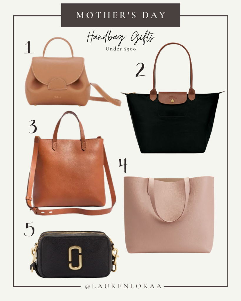 Fashion influencer Lauren Lora's picks for best handbag gifts under $500 to buy your mother for Mother's Day: Polene Number One Nano, Longchamp Le Pliage, Madewell Transport Tote, Cuyana Classic Structured Leather Tote, Marc Jacobs Softshot 21 Crossbody Bag.
